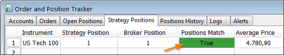 Broker position match in the MultiCharts Order and Position Tracker