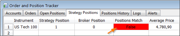 Broker position mismatch in the MultiCharts Order and Position Tracker