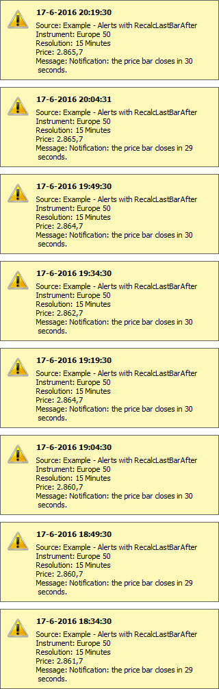 Example of MultiCharts alerts generated up to date
